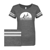 ENZA Ladies Dark Heather/White Vintage Triblend Football Tee-