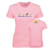 Ladies Pink T-Shirt-Cartoon Puppies
