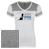 Ladies White/Heathered Nickel Juniors Varsity V Neck Tee-Give a Dog a Job