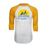 White/Gold Raglan Baseball T-Shirt-Kinkeade Campus