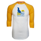 White/Gold Raglan Baseball T-Shirt-Dog Fest Tall