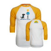 White/Gold Raglan Baseball T-Shirt-Cartoon dog and Man