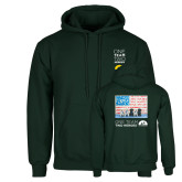 Dark Green Fleece Hood-One Team Two Heroes Stacked
