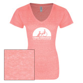 ENZA Ladies Coral Melange V Neck Tee-