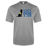 Performance Grey Heather Contender Tee-Give a Dog a Job