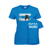 Ladies Sapphire T Shirt-Dog on Fence