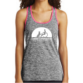 Ladies Black/Neon Pink Heather Performance Tank-