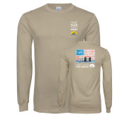 Khaki Gold Long Sleeve T Shirt-One Team Two Heroes Stacked