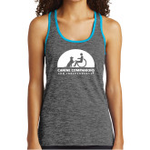 Ladies Grey/Neon Blue Heather Performance Tank-