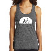 Ladies Grey/Black Heather Performance Tank-