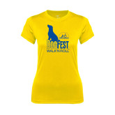 Ladies Syntrel Performance Gold Tee-Dog Fest Tall