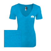 Next Level Ladies Vintage Turquoise Tri Blend V Neck Tee-