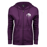 ENZA Ladies Purple Fleece Full Zip Hoodie-Kinkeade Campus