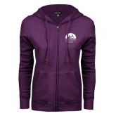 ENZA Ladies Purple Fleece Full Zip Hoodie-Kinkeade Campus