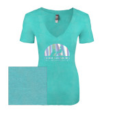 Next Level Ladies Vintage Tahiti Blue Tri Blend V Neck Tee-Foil
