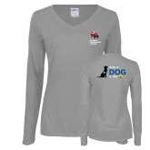Ladies Grey Long Sleeve V Neck T Shirt-Canine Companions Strong
