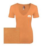 Next Level Ladies Vintage Light Orange Tri Blend V-Neck Tee-