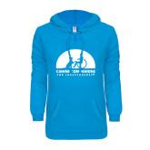 ENZA Ladies Pacific Blue V Notch Raw Edge Fleece Hoodie-