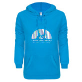 ENZA Ladies Pacific Blue V Notch Raw Edge Fleece Hoodie-Foil