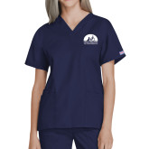 Ladies Navy Two Pocket V Neck Scrub Top-