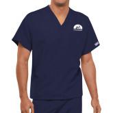 Unisex Navy V Neck Tunic Scrub with Chest Pocket-