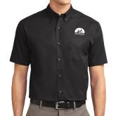 Black Twill Button Down Short Sleeve-