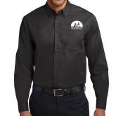 Black Twill Button Down Long Sleeve-