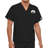 Unisex Black V Neck Tunic Scrub with Chest Pocket-
