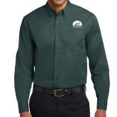 Dark Green Twill Button Down Long Sleeve-