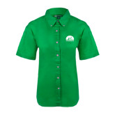 Ladies Kelly Green Twill Button Up Short Sleeve-