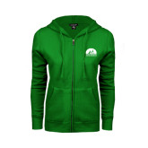 ENZA Ladies Kelly Green Fleece Full Zip Hoodie-