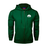 Dark Green Fleece Full Zip Hood-