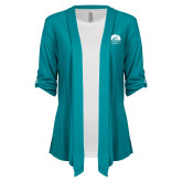 Ladies Teal Drape Front Cardigan-Kinkeade Campus