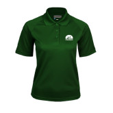 Ladies Dark Green Textured Saddle Shoulder Polo-