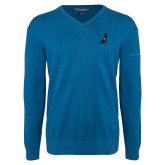 Classic Mens V Neck Moroccan Blue Sweater-Dog
