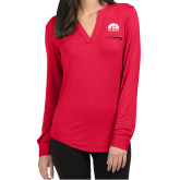 Ladies Lux Red Split Neck Blouse-
