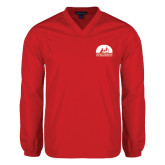 V Neck Red Raglan Windshirt-