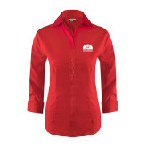 Ladies Red House Red 3/4 Sleeve Shirt-