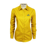 Ladies Gold Twill Button Down Long Sleeve-