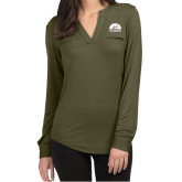 Ladies Lux Olive Green Split Neck Blouse-