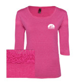 Ladies Dark Fuchsia Heather Tri Blend Lace 3/4 Sleeve Tee-