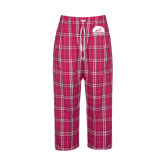 Ladies Dark Fuchsia/White Flannel Pajama Pant-