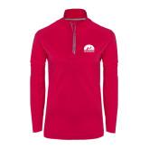 Ladies Pink Raspberry Sport Wick Textured 1/4 Zip Pullover-