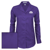 Ladies Red House Deep Purple Herringbone Long Sleeve Shirt-