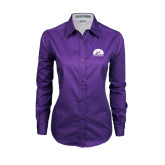 Ladies Purple Twill Button Down Long Sleeve-