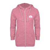 ENZA Ladies Hot Pink Marled Full Zip Hoodie-