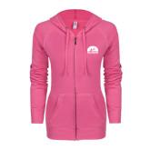 ENZA Ladies Hot Pink Light Weight Fleece Full Zip Hoodie-