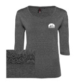 Ladies Charcoal Heather Tri Blend Lace 3/4 Sleeve Tee-