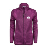 Dark Pink Heather Ladies Fleece Jacket-