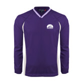 Colorblock V Neck Purple/White Raglan Windshirt-